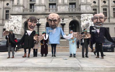 #artforactionspipeline Giant puppets in Harrisburg with Shut Down Berks Coalition
