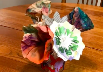 Recycled paper flowers – Art at Home with Spiral Q